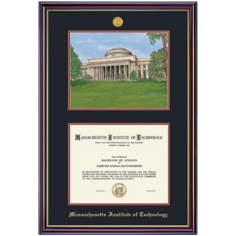 MIT Medallion Diploma and Lithograph Frame
