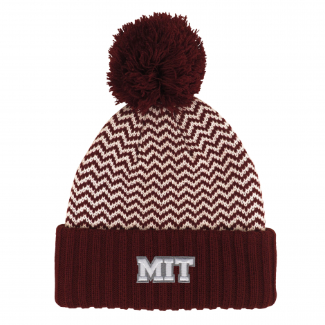MIT Cuff Hat with Zig Zag Pattern and Pom