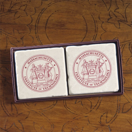 MIT Screencraft Tileworks Set of Marble Coasters MIT Seal