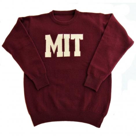 MIT Maroon Lambswool Crewneck Sweater