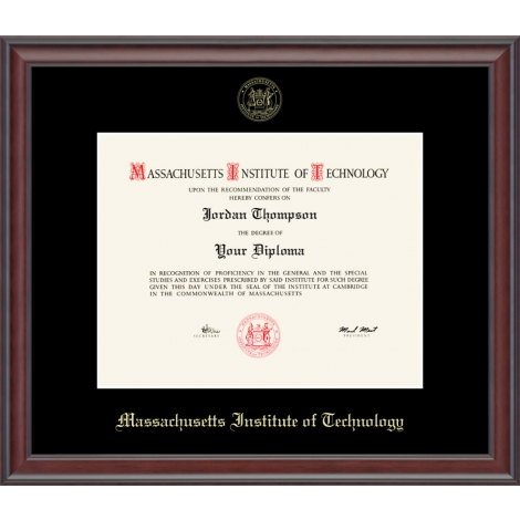 MIT Gold Embossed Diploma Frame in Studio with Black mat