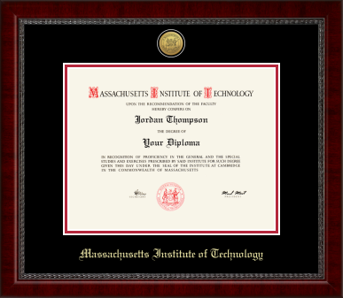 MIT Gold Engraved Medallion Diploma Frame in Sutton with Black/Red Mats