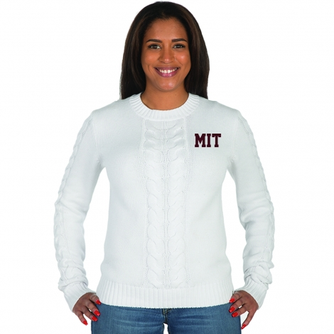 MIT Women's White Cabled Crew Sweater