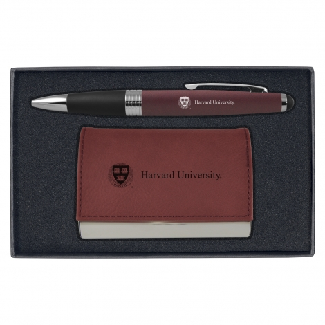 Harvard Velour Business Card Holder and Pen Gift Set
