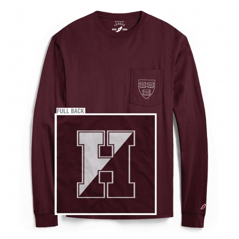 Harvard League Chest Pocket Split H Back Crew Neck Long Sleeve Tee