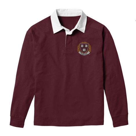Harvard League Embroidered Seal Jack Collared Long Sleeve Shirt