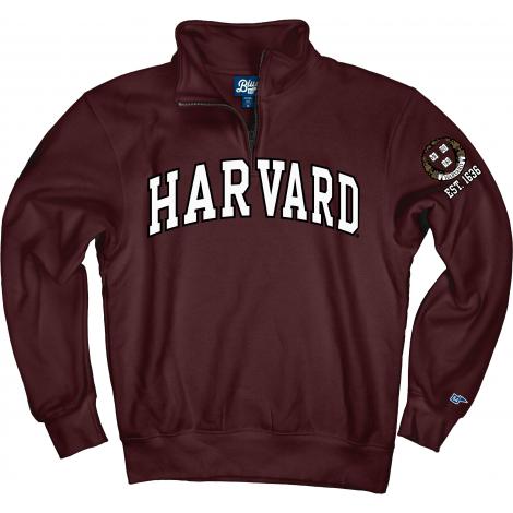 Harvard 1/4 Zip Sweatshirt With Embroidered Harvard Design and Sleeve Graphic