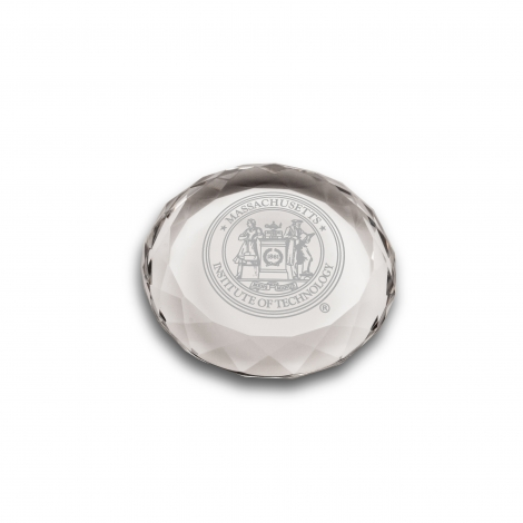 MIT Clear Optic Cut Engraved Crystal Paperweight
