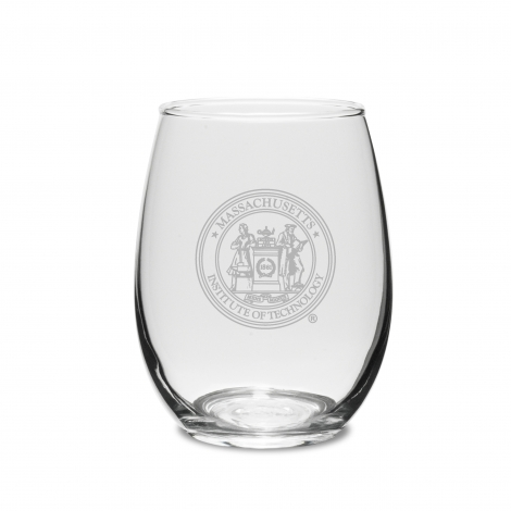 MIT Seal Engraved Stemless (Set of 2) Crystal Wine Glass