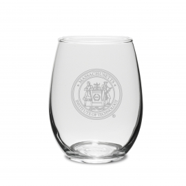 MIT Seal Engraved Crystal Set of 2 Stemless Wine Glasses