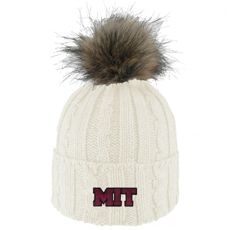 MIT Cable Knit Faux Fur Pom Beanie