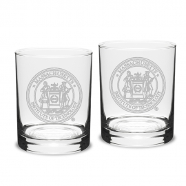 MIT Seal Engraved Crystal Set of 2 Old Fashioned Glasses