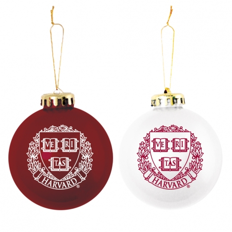 Harvard Shatterproof Ornaments Maroon & White Set of 2