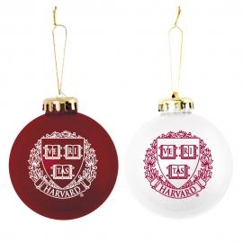 Harvard Shatterproof Ornaments Maroon & White Set of 2