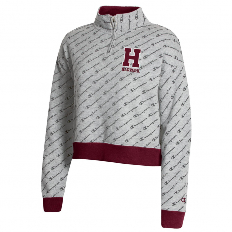 Harvard Women's Champion Super Fan Cropped 1/4 Zip With All Over Print