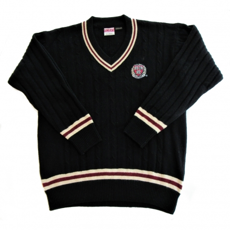 Harvard Black V-Neck Lambswool Sweater