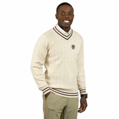 Harvard Cream V-Neck Cotton Sweater