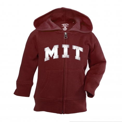 MIT Maroon Toddler Full Zip Hood