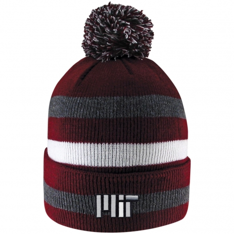 MIT Primetime Stripe Pom Cuff Knit Beanie
