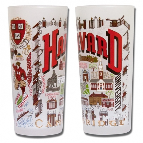 Harvard Frosted Drinking Glass