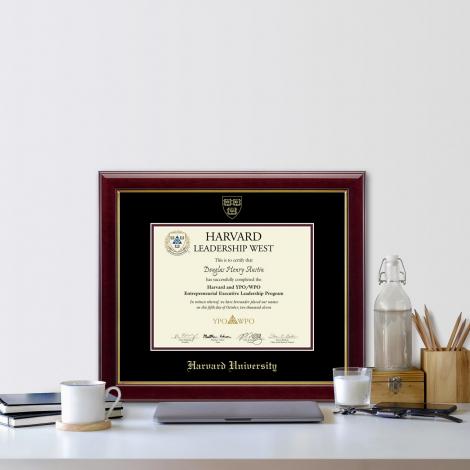 Harvard Gold Embossed Certificate Frame in Gallery or Regency Gold with Black/Maroon mats
