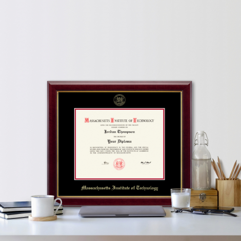 MIT Gold Embossed Diploma Frame in Gallery or Regency Gold with Black/Red Mats