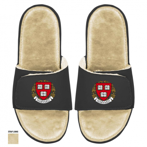 ISlide Fur-lined Harvard Veritas Seal Sandals