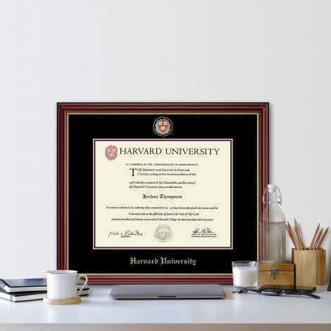 Harvard Masterpiece Medallion Diploma Frame in Kensington Gold with Black/Maroon Mat