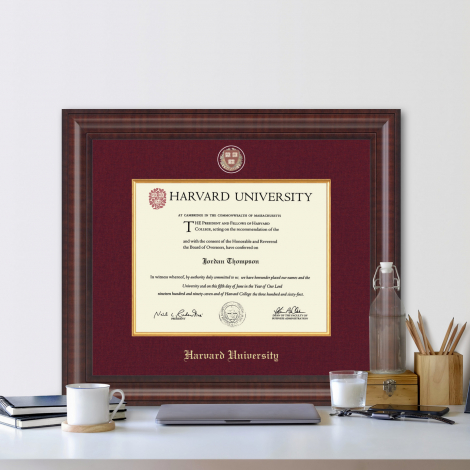 Harvard Presidential Gold Engraved Diploma Frame in Premier with Maroon Linen Mat