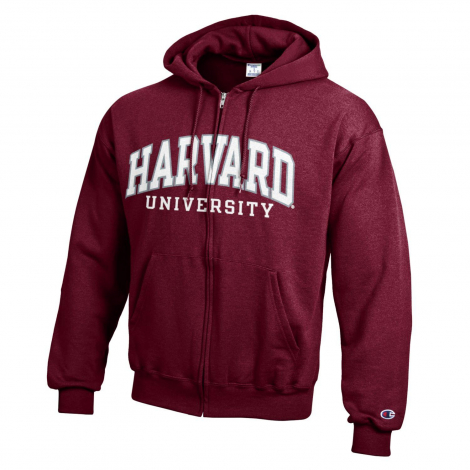 Harvard Champion Applique Full-Zip Hooded Sweatshirt
