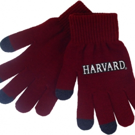 Maroon Knit Gloves with Harvard
