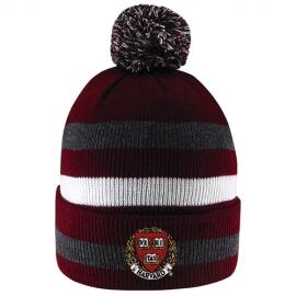 Harvard Maroon/White/Grey Knit  Pompom Hat