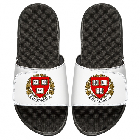 ISlide Harvard White Veritas Seal Sandals