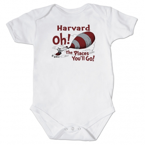 Dr Seuss Harvard White Infant Onsie