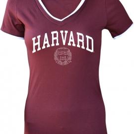 Harvard Women's Layered Junior Fit V-Neck Tee