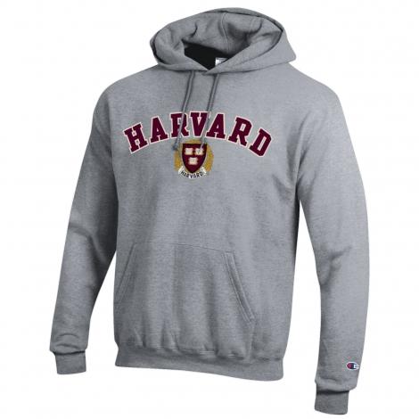 Harvard Champion Felt Applique Embroidered Seal Hooded Sweatshirt