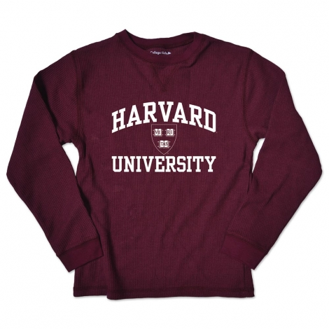 Youth Harvard Thermal Maroon Long Sleeve Tee Shirt