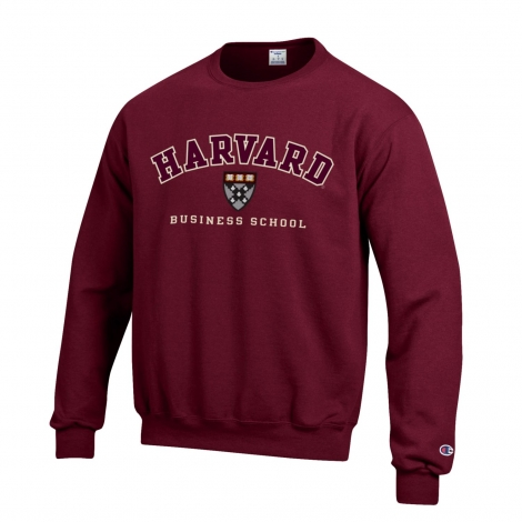 Harvard Business School Champion Applique Crew Neck Sweatshirt