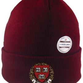 Harvard Veritas Maroon Knit Cuffed Hat w/ Fleece Lining