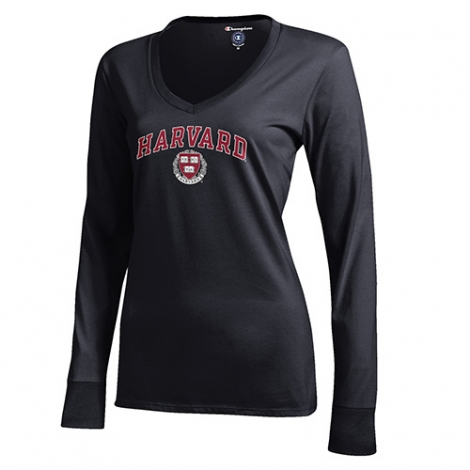 Women's Harvard Long Sleeve V-Neck Veritas Tee Shirt