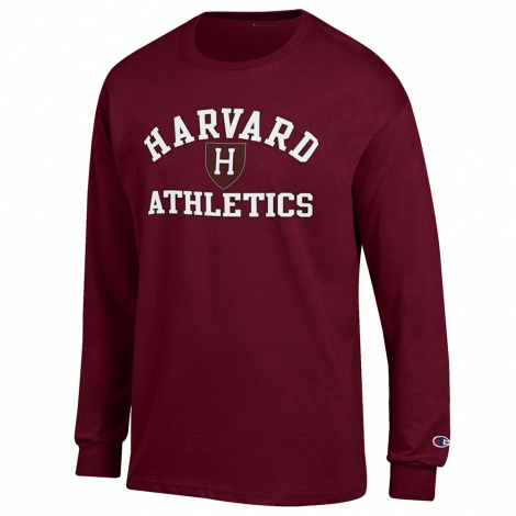 Harvard Athletic Shield Maroon Long Sleeve Tee Shirt