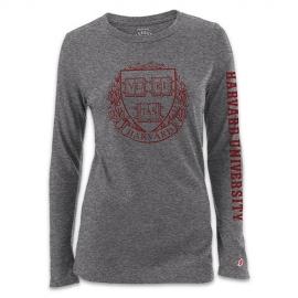 New! Women's Grey Freshy Harvard Long Sleeve T Shirt