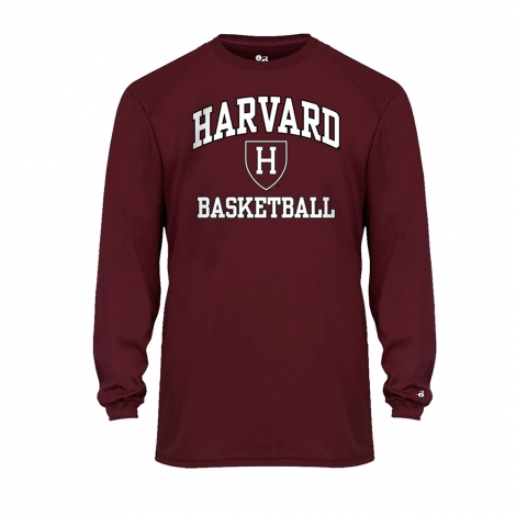 Moisture-Management Performance Basketball Maroon Long Sleeve T Shirt
