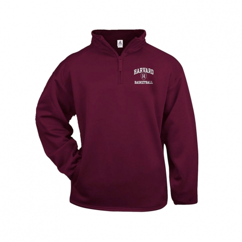 Harvard Basketball Maroon 1/4 zip Performance Sweatshirt