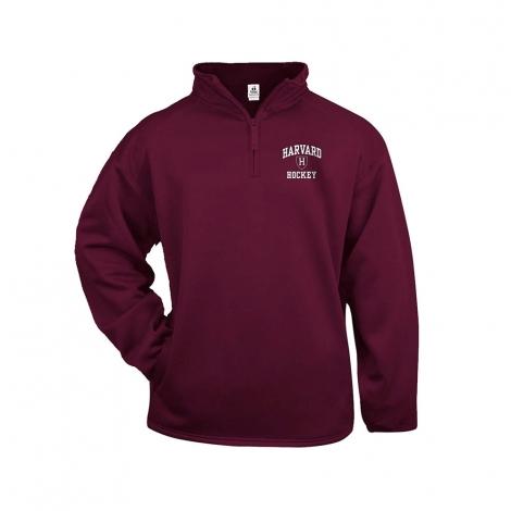 Harvard Hockey Maroon 1/4 zip Performance Sweatshirt