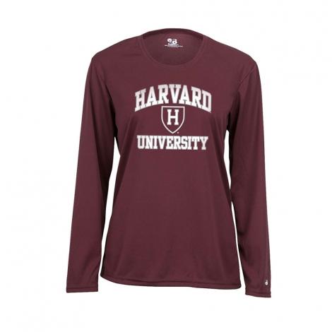 Women's Harvard Maroon Performance Long Sleeve Tee Shirt