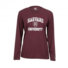 Moisture-Management Maroon Women's Harvard Maroon Long Sleeve T Shirt