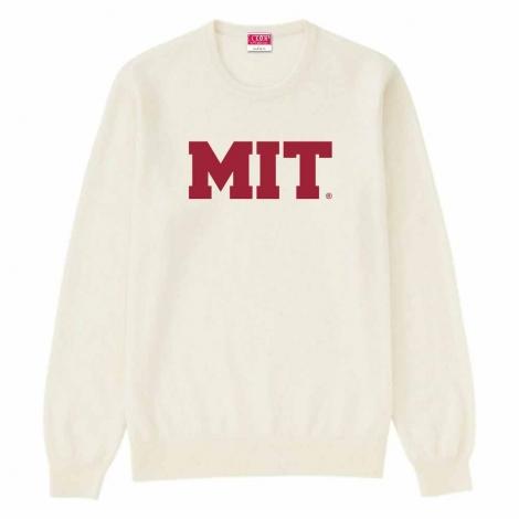 MIT Cream Crew Neck Applique Sweater