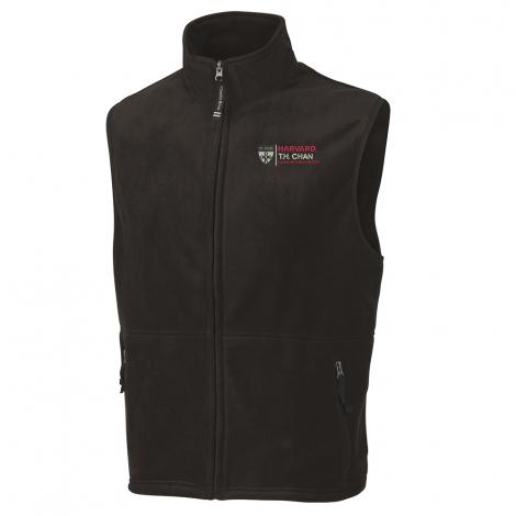 Men's Black Harvard T. H.Chan Ridgeline Fleece Vest