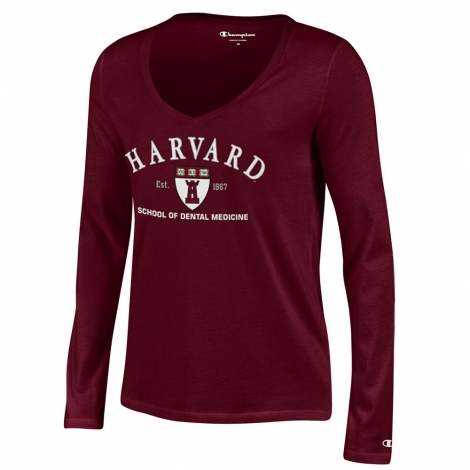 School of Dental Medicine Women's Maroon V Neck long sleeve T Shirt